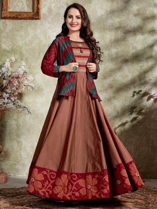 Printed Brown Jacket Style Anarkali Kurti