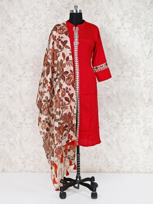 Printed Brown Linen Dupatta