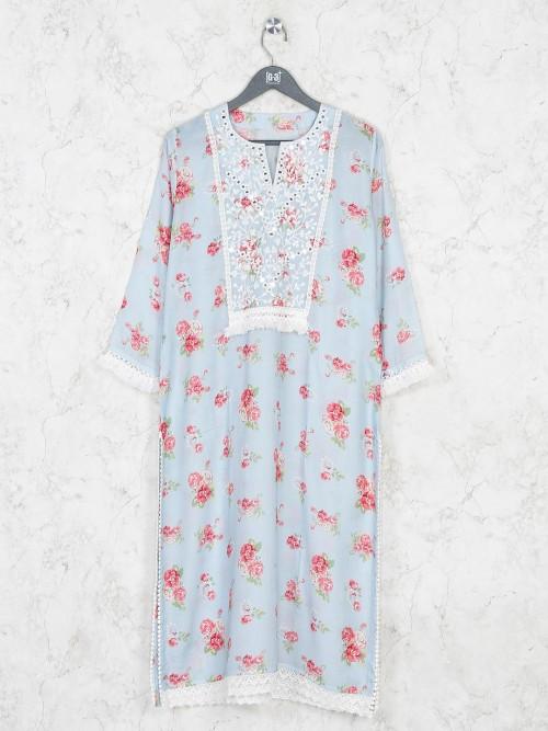 Printed Cotton Festive Wear Sky Kurti