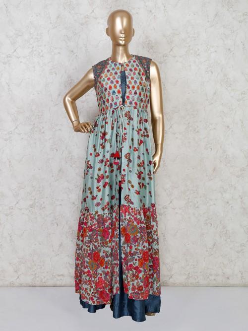 Printed Cotton Silk Jacket Style Salwar Suit