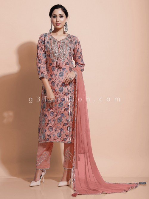 Printed Cotton Silk Peach Kurti Set