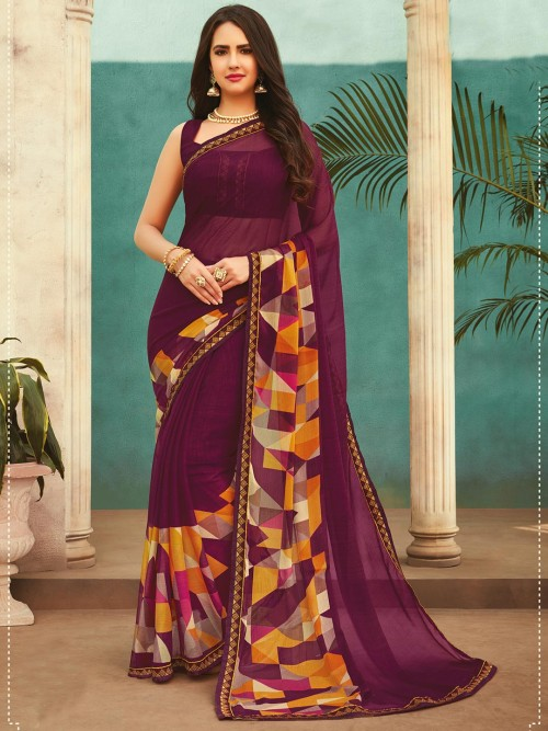 Printed Georgette Festival Wear Saree