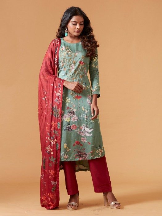 Printed Green Raw Silk Punjabi Salwar Suit