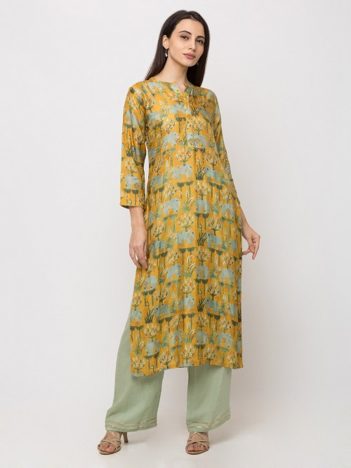 Printed Mustard Yellow Cotton Kurti Tunic