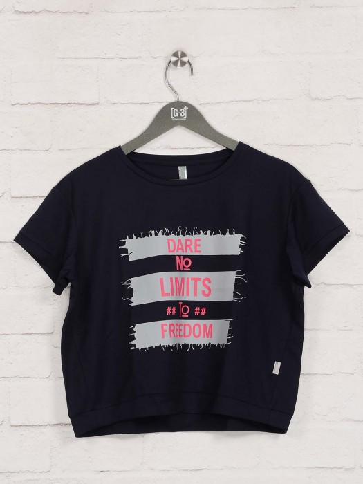 Printed Navy Cotton Casual Wear Top