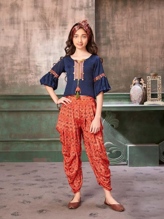 Printed Navy Hued Raw Silk Punjabi Dhoti Suit