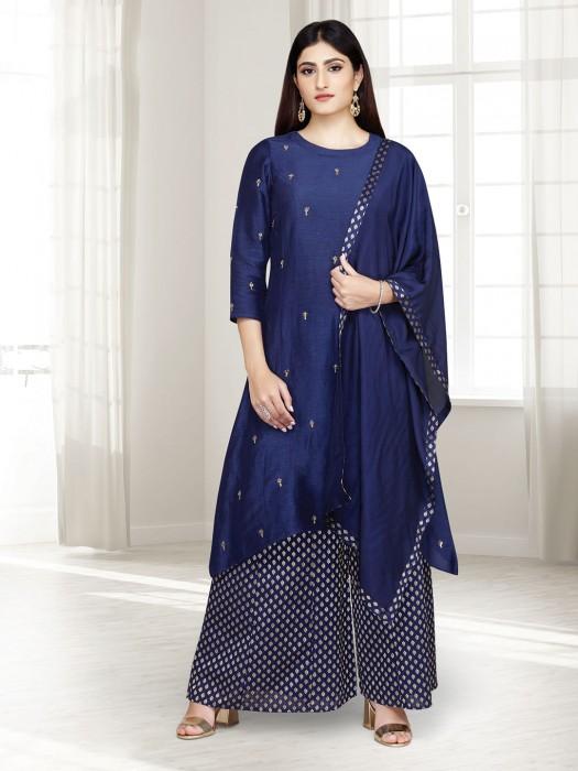 Printed Navy Raw Silk Punjabi Palazzo Suit