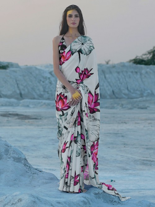 Printed Off White Satin Saree For Festive