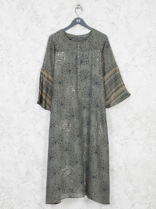 Printed Olive Cotton Kurti