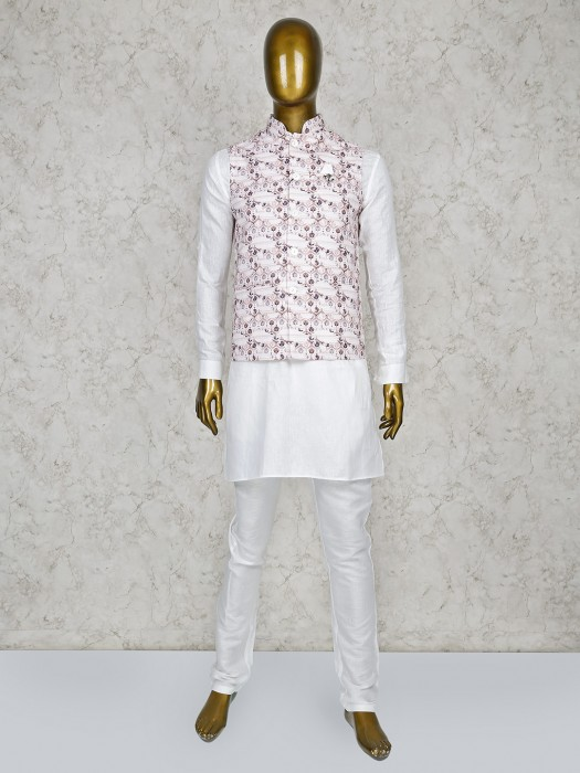 Printed Pattern Cream And White Hue Waistcoat Set