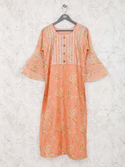 Printed Peach Color Cotton Silk Casual Kurti