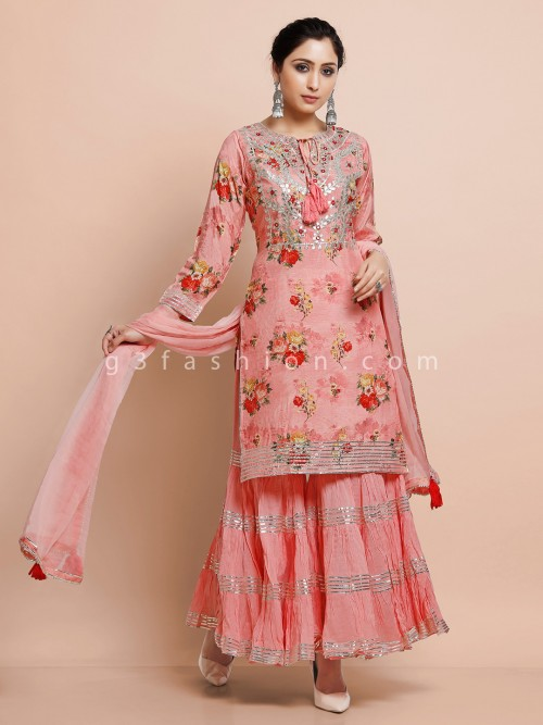 Printed Pink Cotton Kurti Set For Festivals