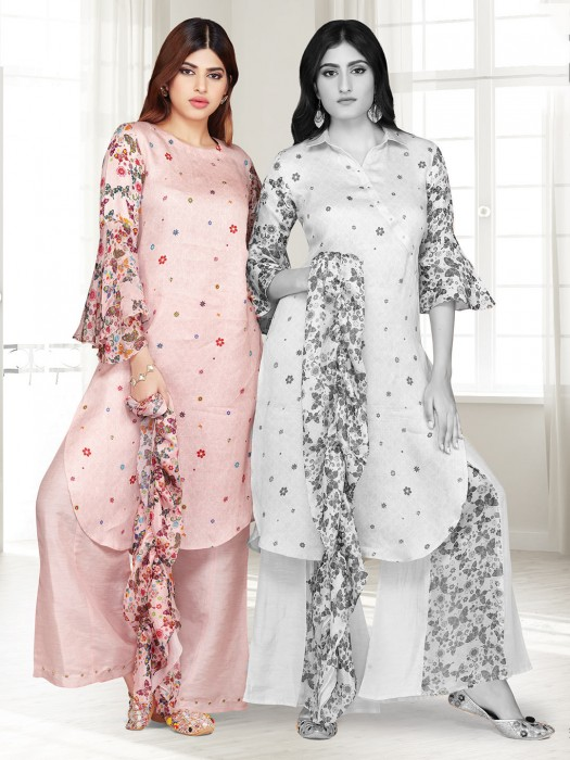 Printed Punjabi Palazzo Suit In Rose Pink Cotton Silk