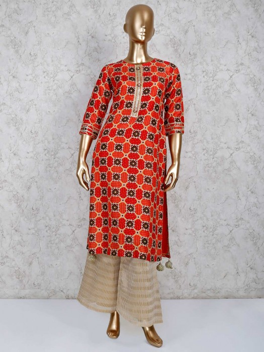 Printed Red Cotton Palazzo Salwar Suit