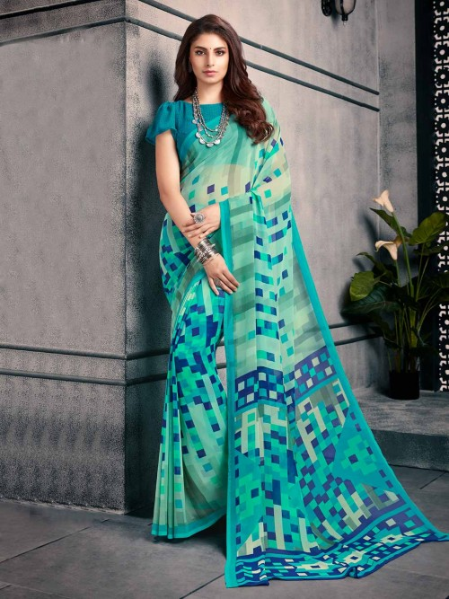 Printed Sky Blue Saree In Georgette