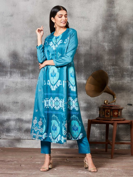 Printed Teal Blue Raw Silk Fabric Punjabi Salwar Suit