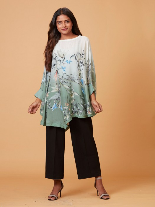 Printed White And Green Shaded Cotton Silk Cape Top