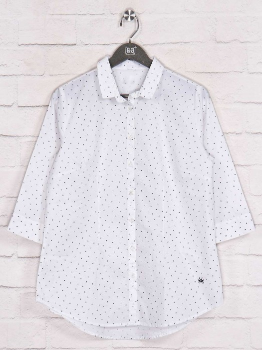 Printed White Quarter Sleeves Shirt