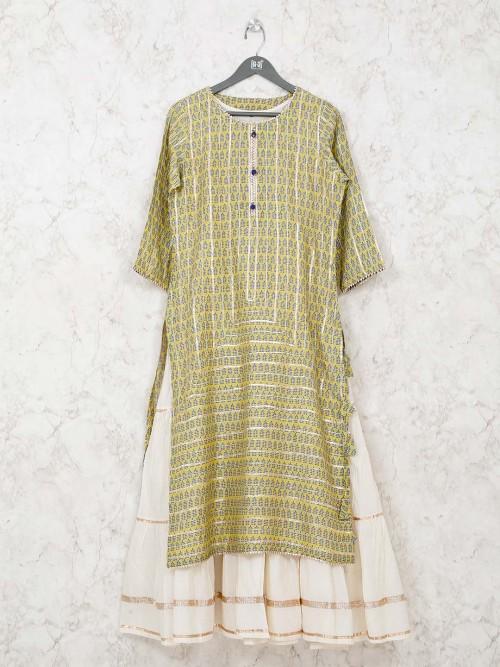 Printed Yellow Double Layer Kurti In Cotton