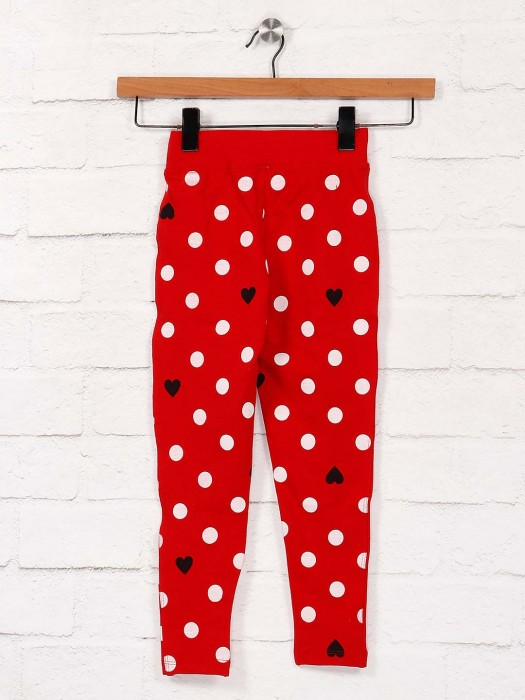 Pro Energy Printed Red Color Cotton Fabric Casual Jeggings