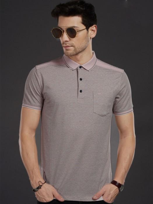 Psoulz Pink Stripe Polo Neck T-shirt