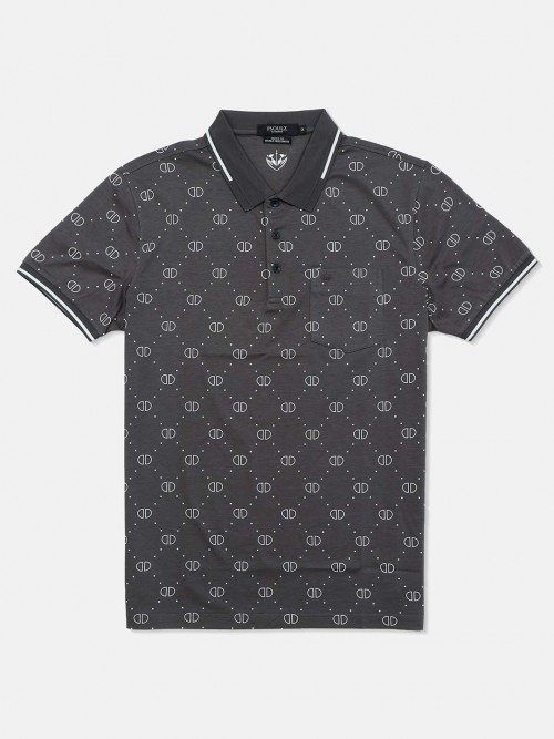 Psoulz Casual Wear Printed Dark Grey Polo T-shirt