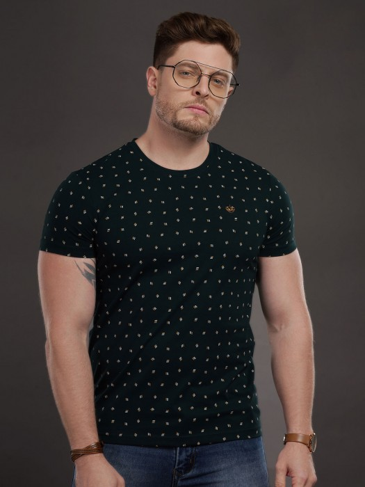 Psoulz Casual Wear Printed Slim Fit T-shirt