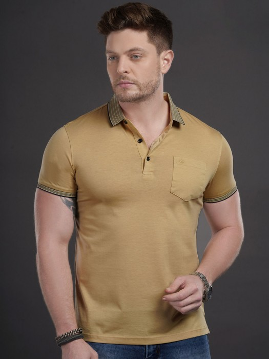 Psoulz Beige Cotton Slim Fit T-shirt