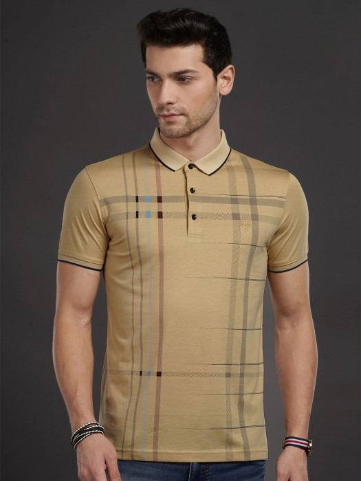 Psoulz Khaki Checks Casual T-shirt