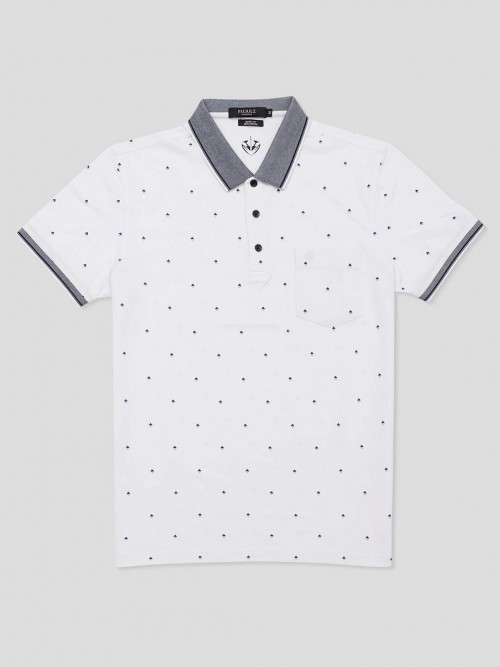 Psoulz Polo Printed White T-shirt
