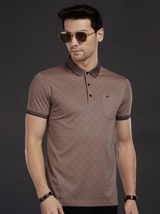 Psoulz Printed Brown Polo Neck T-shirt