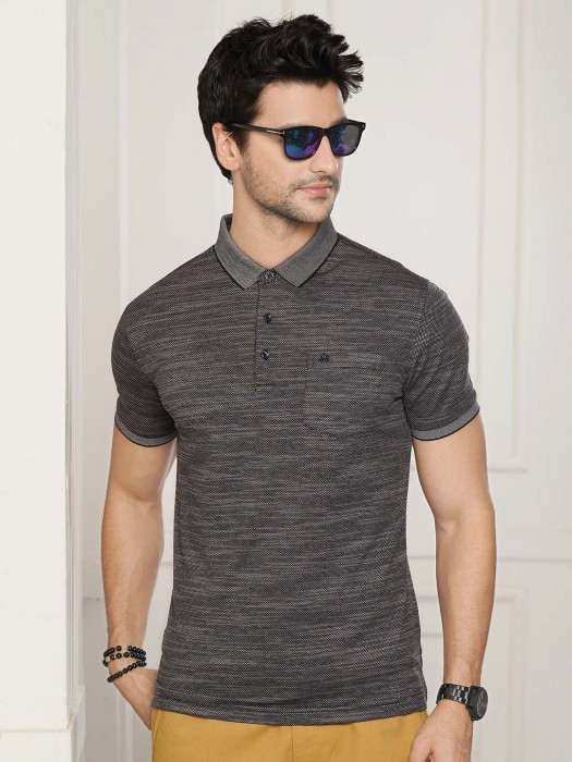 Psoulz Solid Dark Grey Slim Fit T-shirt