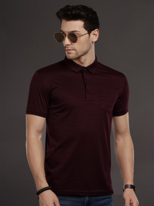 Psoulz Solid Maroon Casual Wear T-shirt