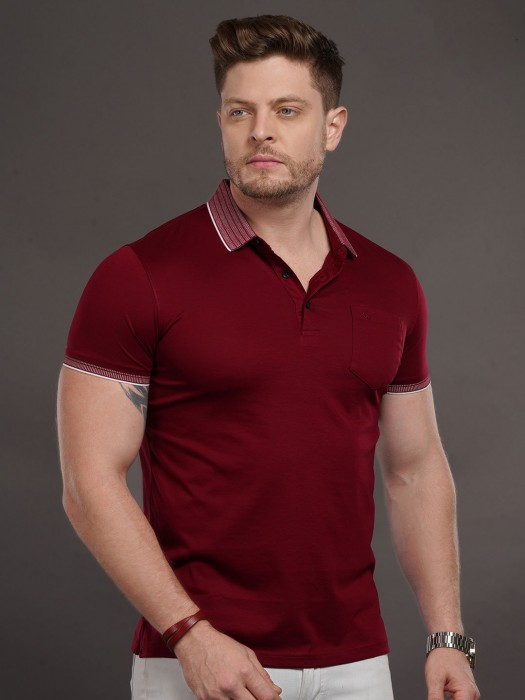 Psoulz Solid Maroon Cotton T-shirt