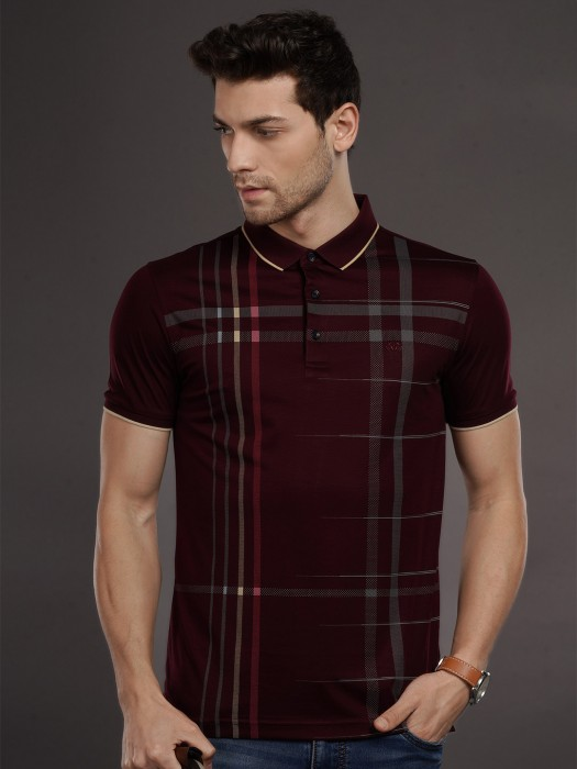 Psoulz Wine Maroon Checks T-shirt