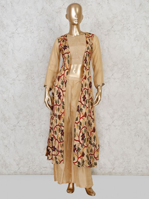 Punjabi Palazzo Suit In Beige Cotton Silk