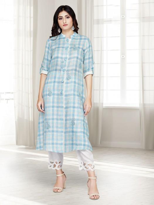 Punjabi Pant Suit In Light Blue Cotton