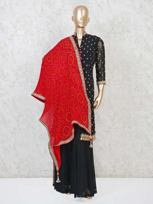 Punjabi Sharara Suit In Designer Black Georgette