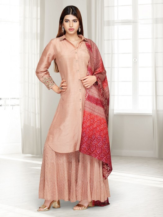Punjabi Sharara Suit In Peach Cotton Silk