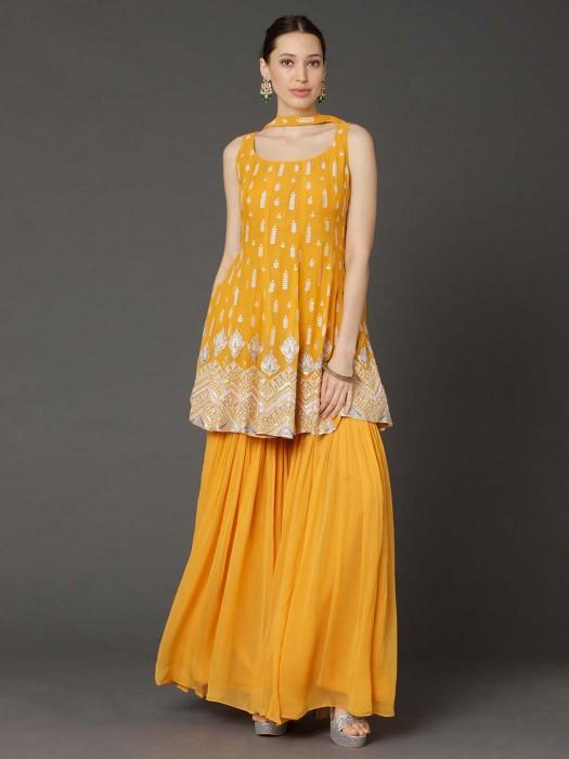 Punjabi Sharara Suit In Yellow Georgette