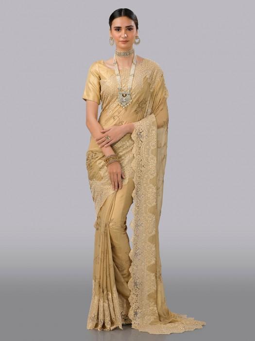 Pure Chiffon Beige Wedding Wear Saree