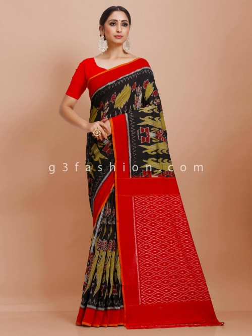 Pure Mul Cotton Printed Festive Wear Black And Red Contrast Sari