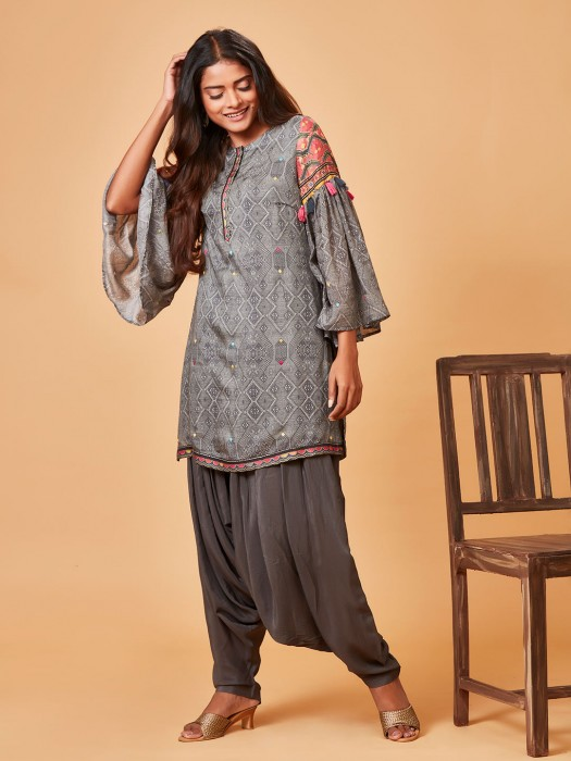 Pure Raw Silk Grey Punjabi Salwar Suit