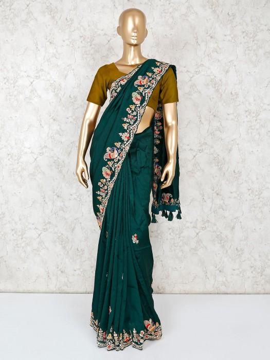 Pure Silk Designer Saree In Green