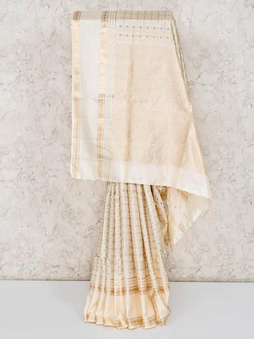 Pure Silk Fabric Cream Saree