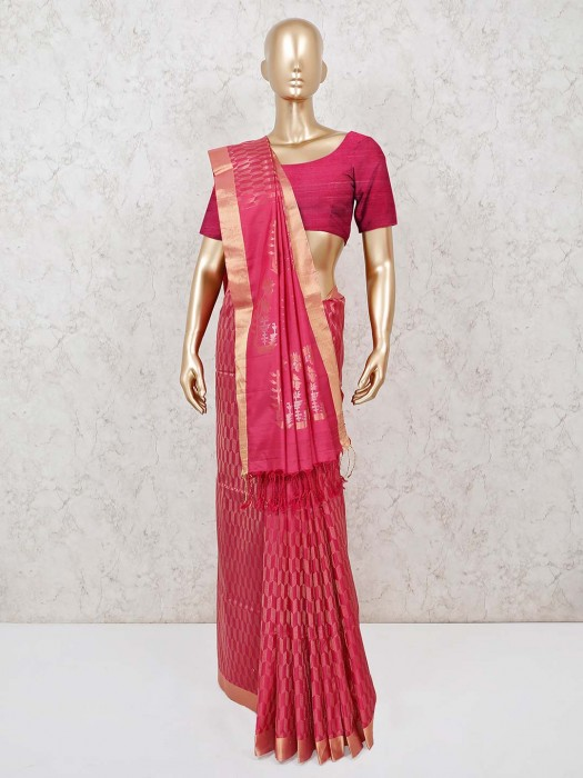 Pure Silk Saree In Pink