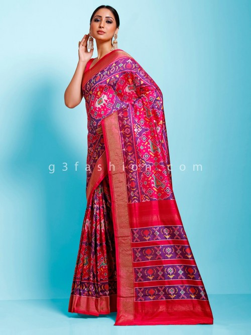 Purple And Magenta Hydrabadi Ikkat Wedding Patola Saree