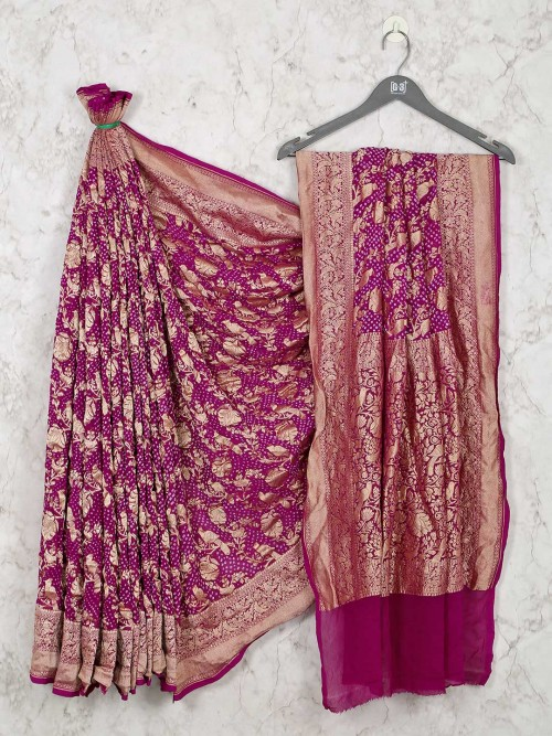 Purple Bandhej Saree Design For Wedding