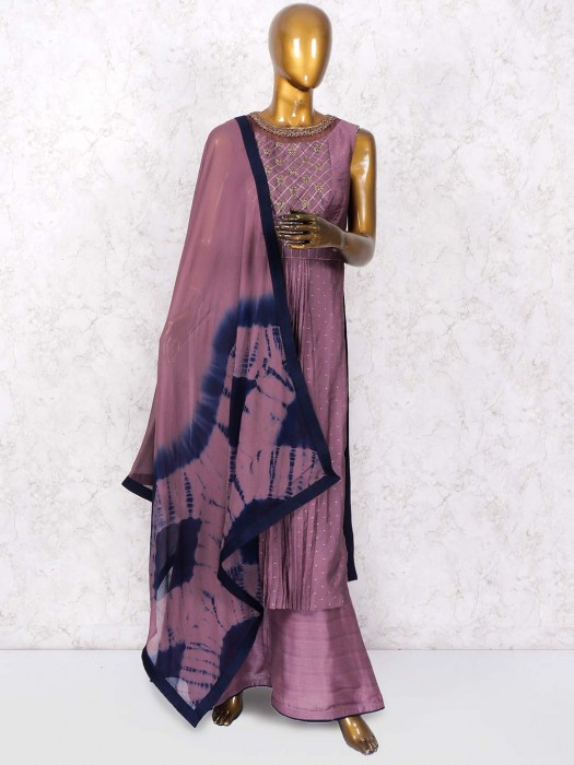 Purple Color Cotton Silk Punjabi Salwar Suit