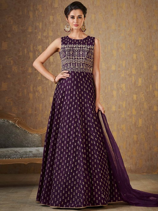 Purple Color Floor Length Festive Anarkali Suit